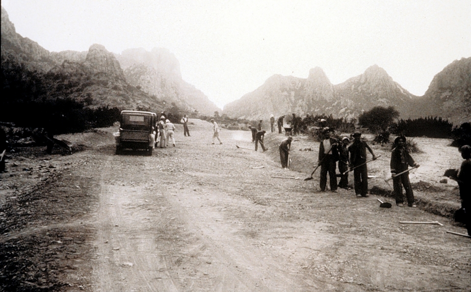CCC work crew constructing at Big Bend National Park, mid-1930s.