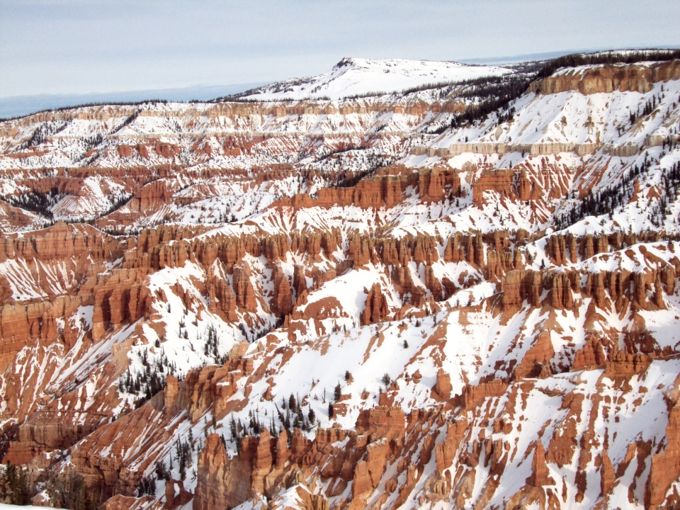 Snow covering the red hoodoos of the Ampitheater of Cedar Breaks National Monument