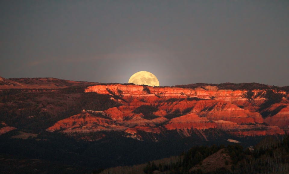 Half of a yellow moon glows at the horizon of Cedar Breaks National Monument.