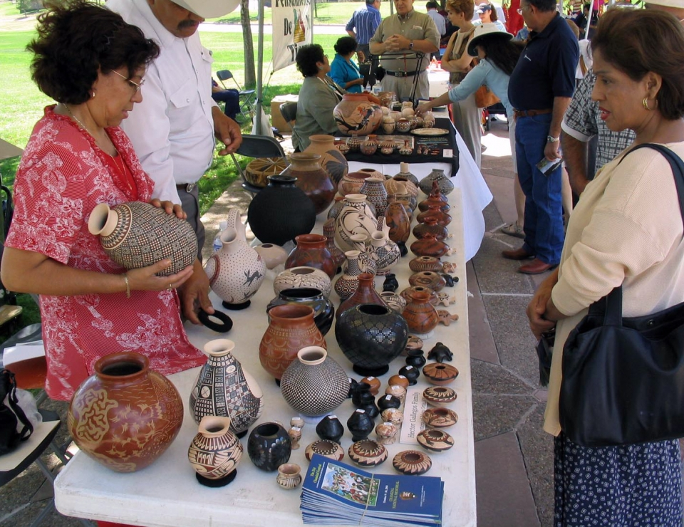 Tables of traditional pottery at the cultural festival at Chamizal National Monument