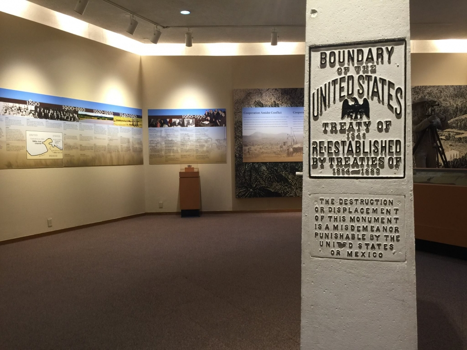 Museum exhibit showing timeline of history at Chamizal National Monument