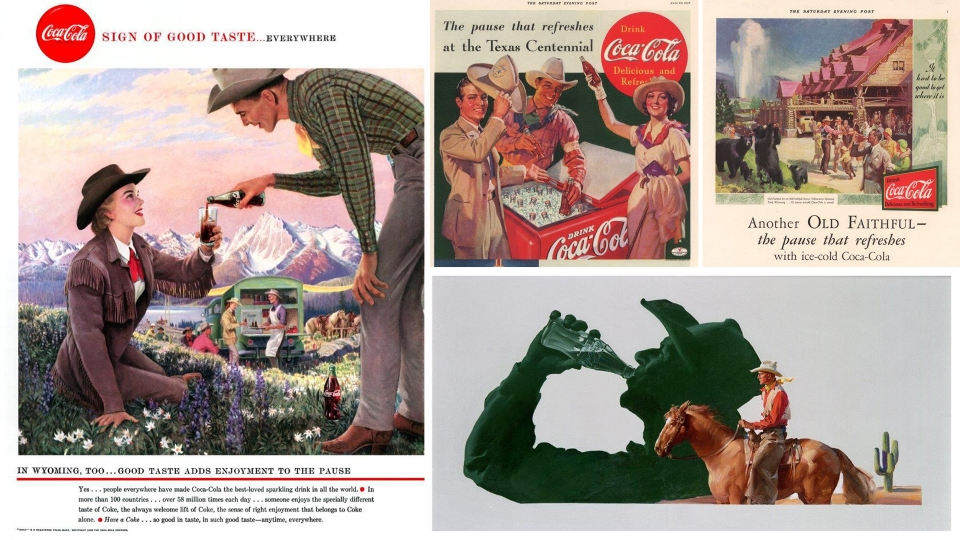 A collage of vintage Coca-Cola advertisements that feature illustrated national park-inspired scenes