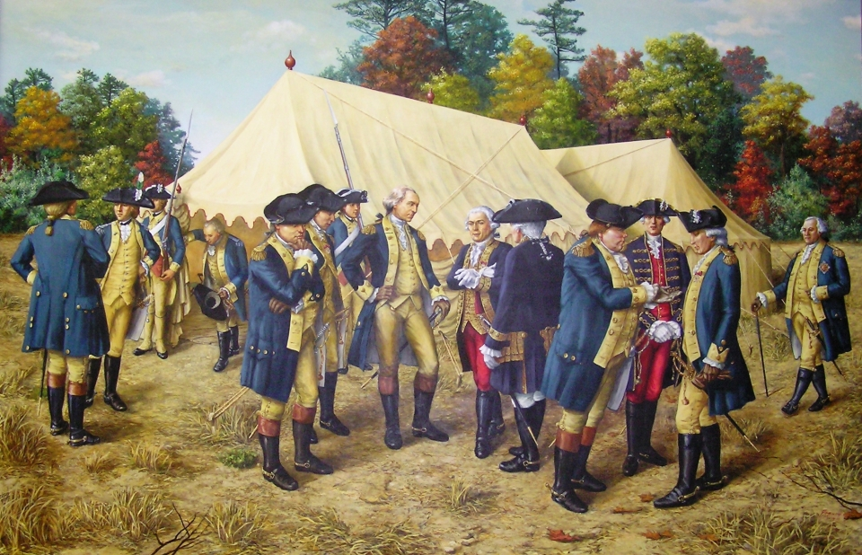 A painting of General George Washington and his senior staff at the headquarters tents in Yorktown at Colonial National Historical Park