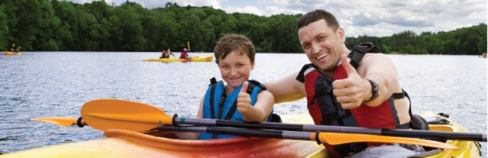 Contact Us header, a son and his father kayaking