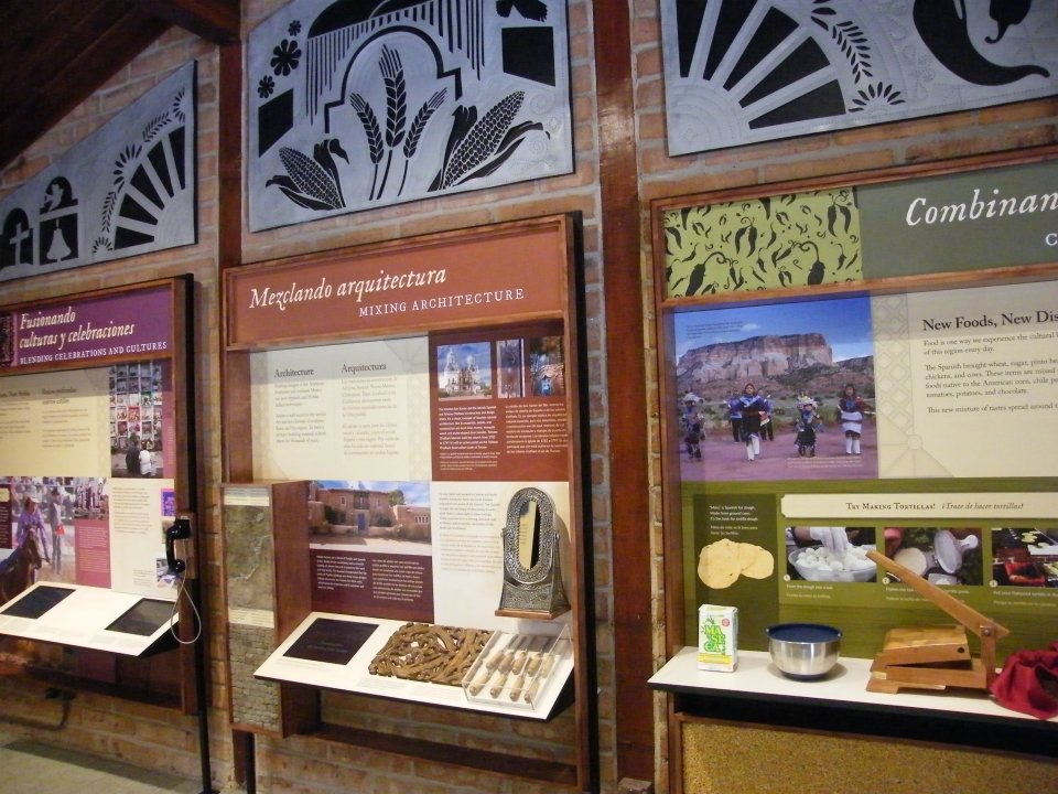 Bilingual exhibit displays at the visitor center at Coronado National Memorial
