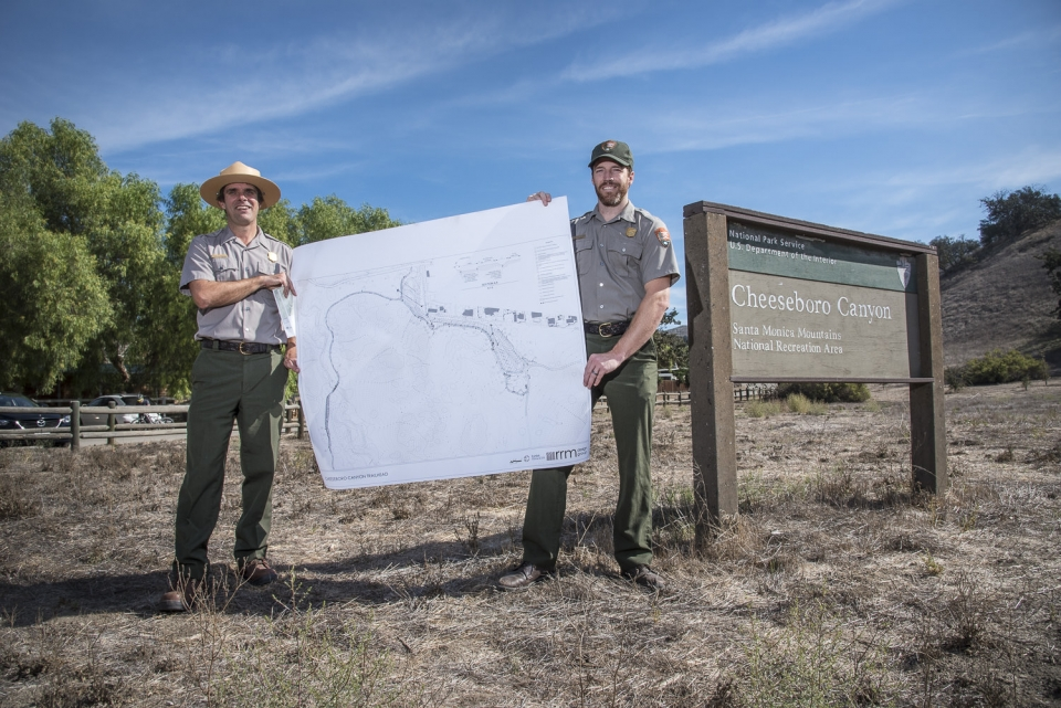 Rangers with map in front of Cheeseboro Canyon Trail Park