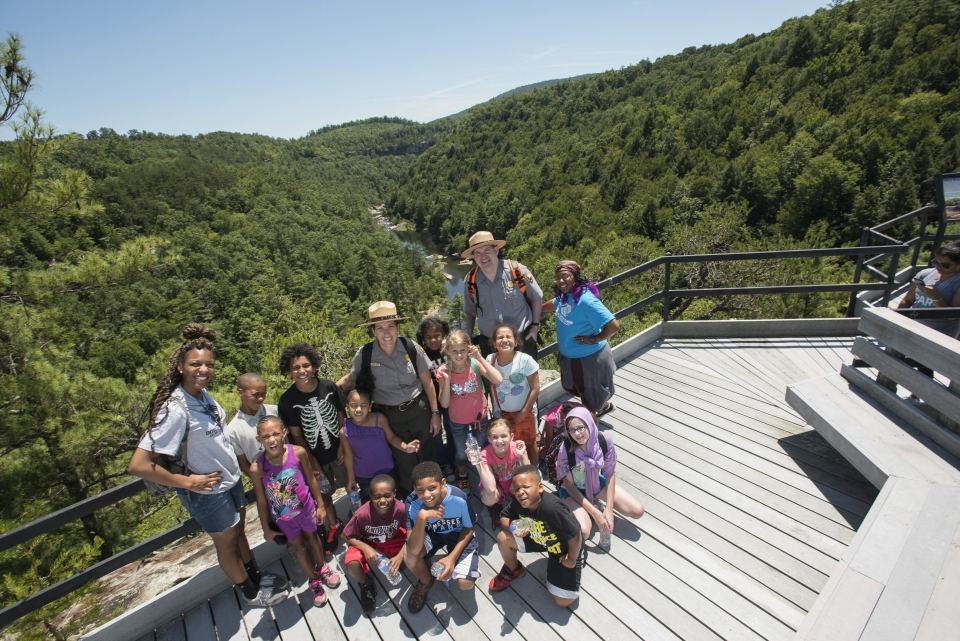 Tour Guides with group of children at Obed National Park