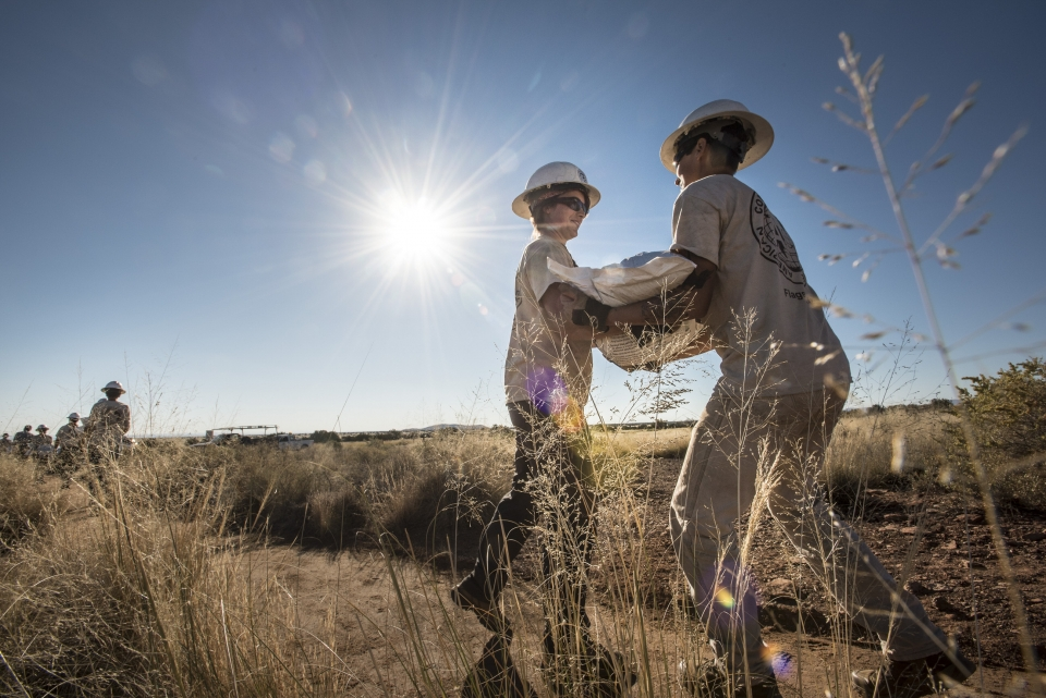 Workers busy at Wupatki National Monument