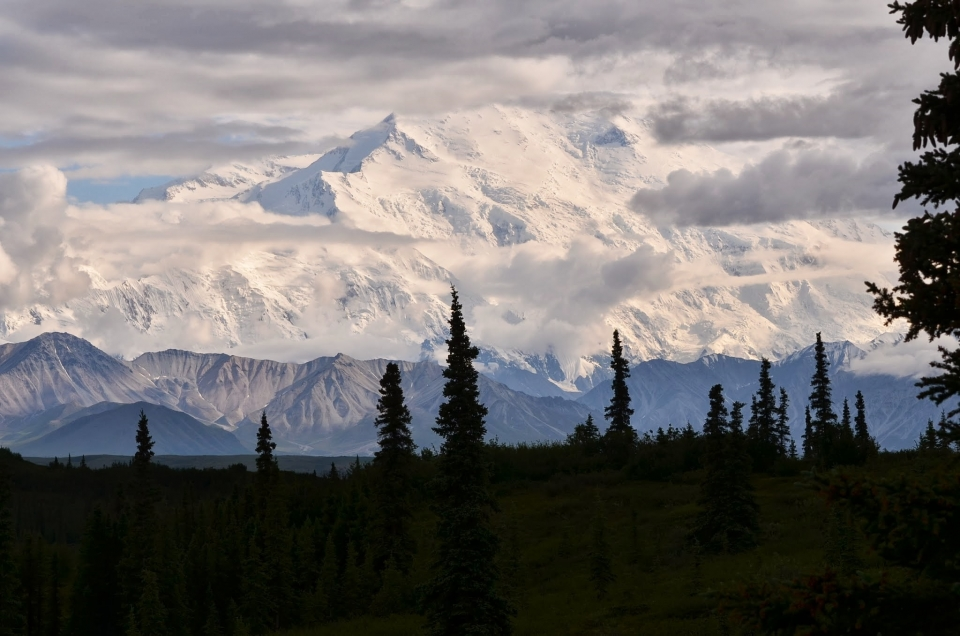Snow-covered Mount Denali at Denali National Park & Preserve