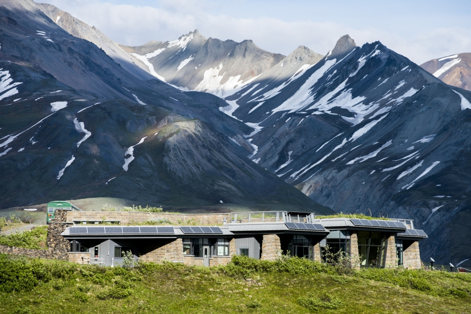 Denali National Park and Preserve's Eielson Visitor Center sits partly into a hillside, to give a less obtrusive appearance from afar.