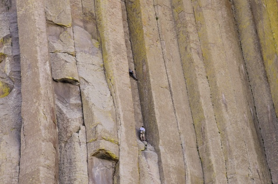 Rock climbers on Devil's Tower