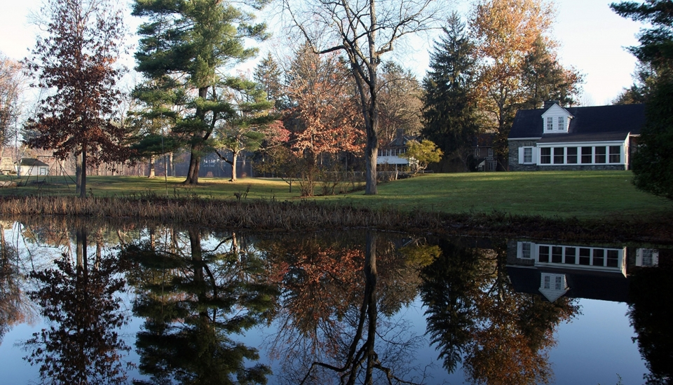 Look across a pond to Stone Cottage