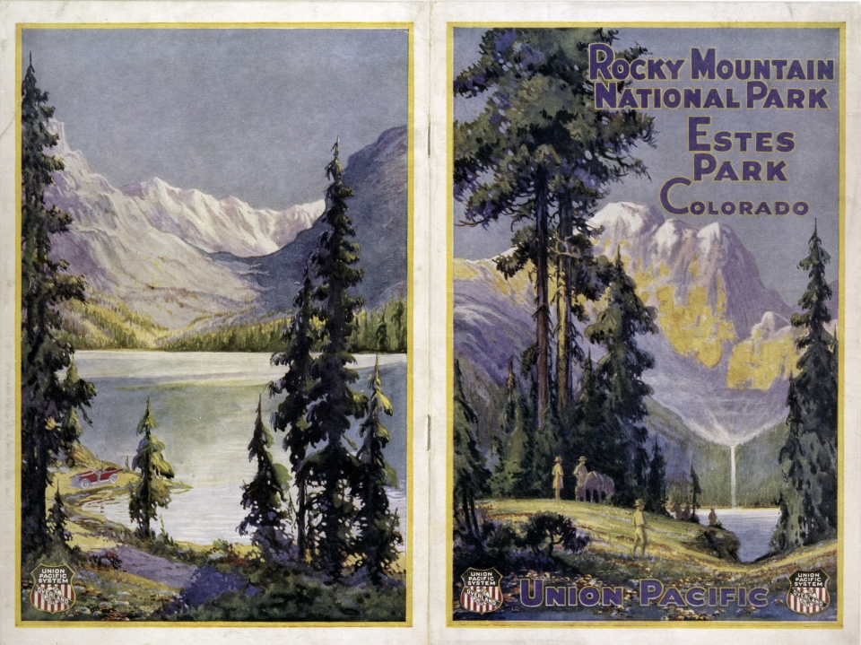 Illustrated booklet cover depicting Rocky Mountain National Park's mountains and green valleys
