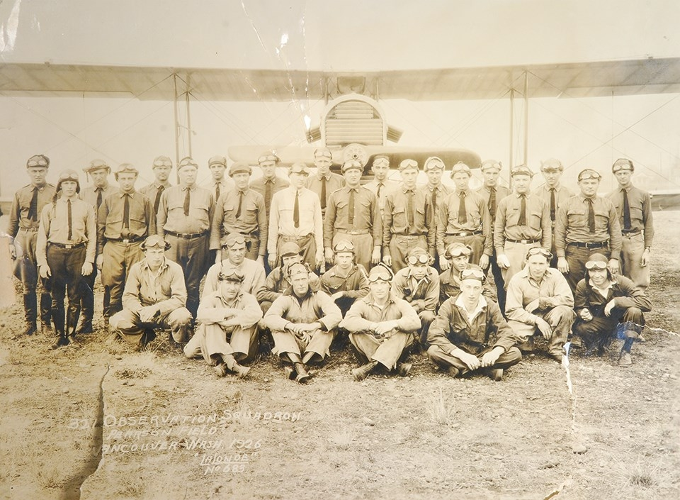 The 321st Observation Squadron at Pearson Field in 1926. From the Lt. Noel B. Evans collection at Fort Vancouver National Historic Site museum.