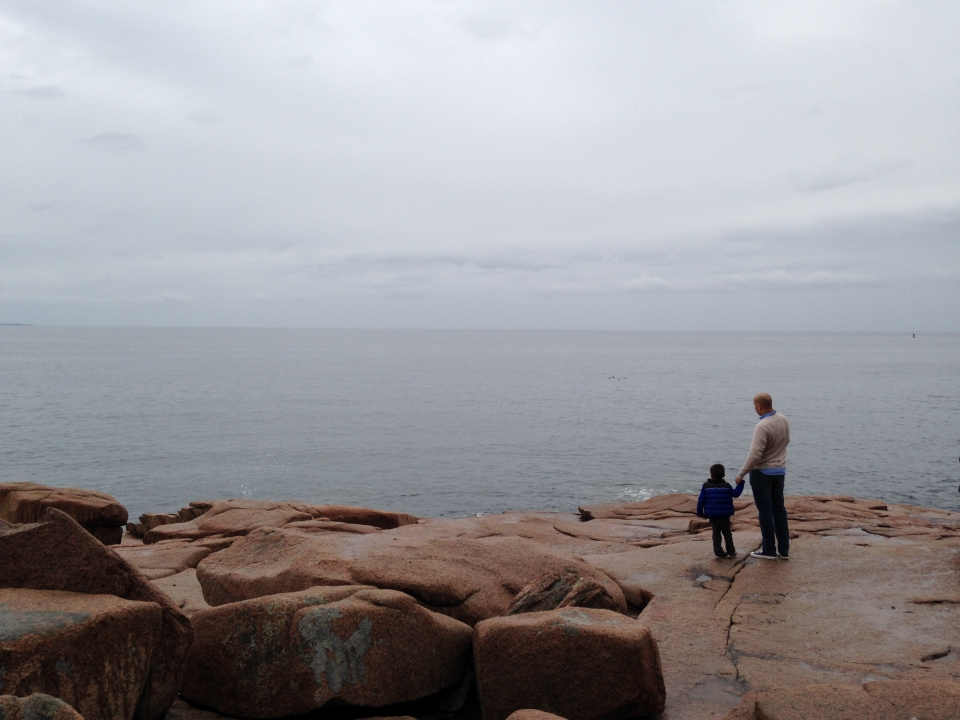 Frank Barrows in Acadia with Son