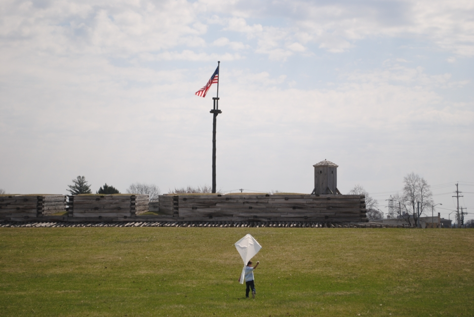 Frank Barrows Son Flying Kite at Fort Stanwix National Monument
