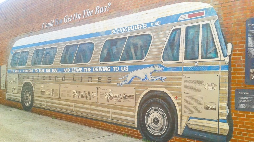 Mural of a Greyhound bus at Freedom Riders National Monument