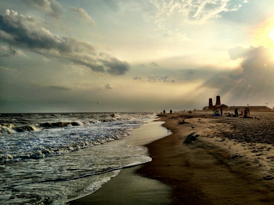 Sun setting on Jacob Riis Beach at Gateway National Recreation Area