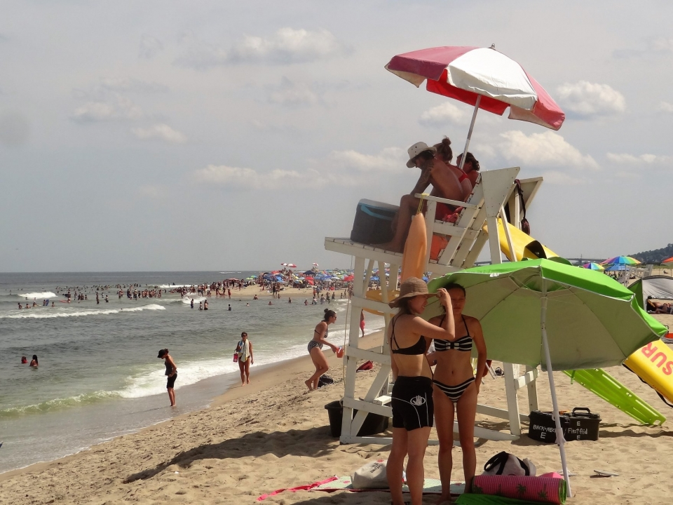 A crowd at Sandy Hook Beach at Gateway National Recreation Area