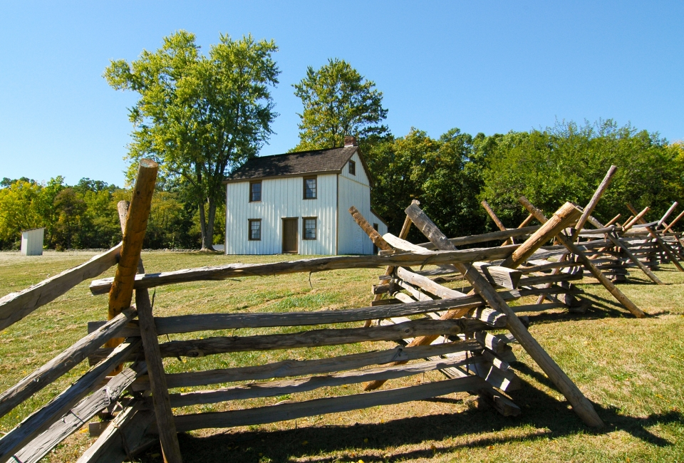 View of Gettysburg battlefield fence and cabin