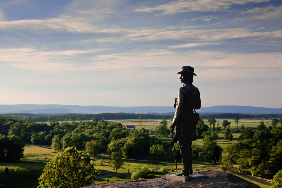 The statue of Gen. G.K. Warren at Little Round Top, Gettysburg National Military Park