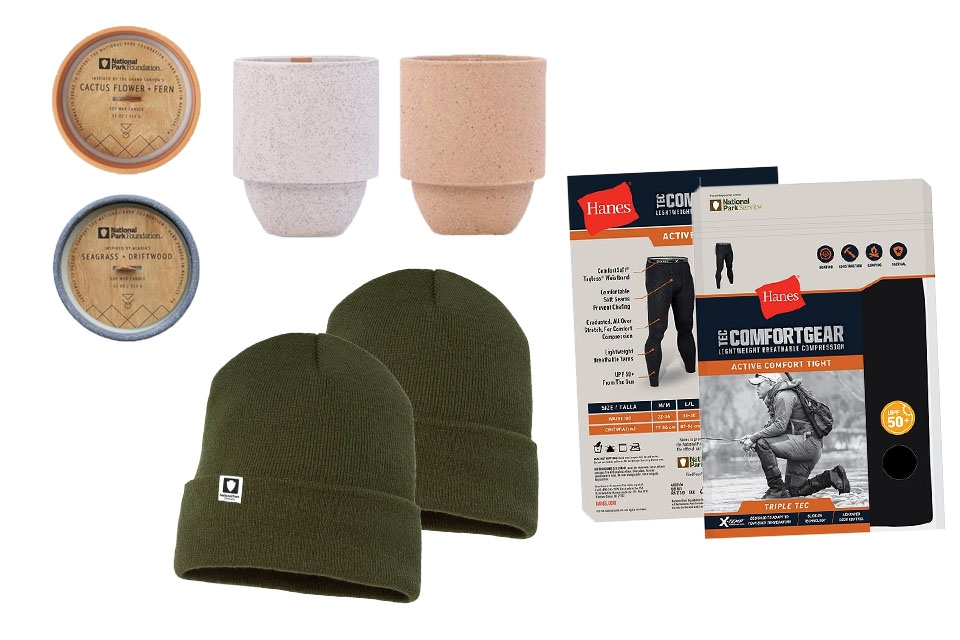 National park-themed candles, men's baselayer clothing, and a dark green National Park Service beanie