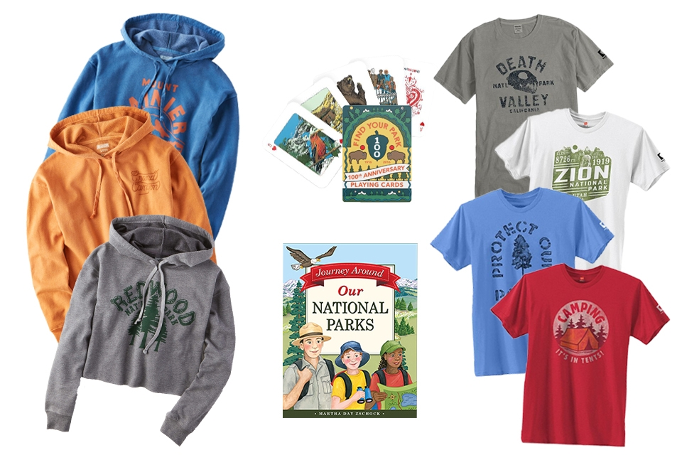 Three national park cropped hoodie sweatshirts, national park-themed playing cards, children's book, four national park-themed t-shirts