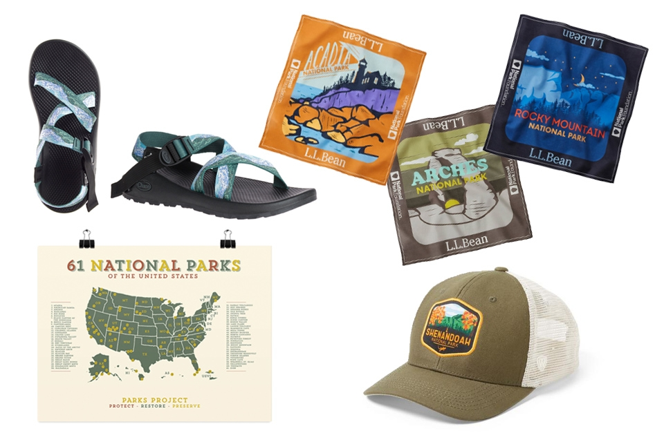 Sandals, national park poster, national park-themed bandanas, and a trucker hat