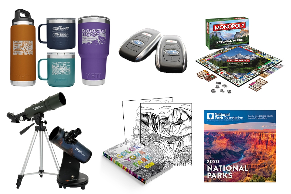 National park-themed bottles, telescopes, a coloring book, Subaru car keys, national park-themed Monopoly board game, and a national park-themed calendar