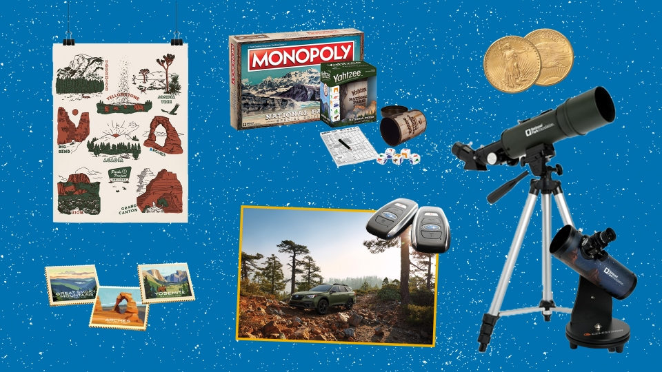 Collage of images of products listed below, including a poster, ingots, park-themed games, telescopes, a Subaru car and car keys, and collectable coins