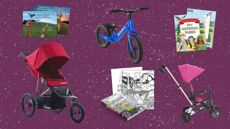 Collage of images of products listed below, including park-themed children's' books, a stroller, a children's bicycle and tricycle, and a park themed coloring book