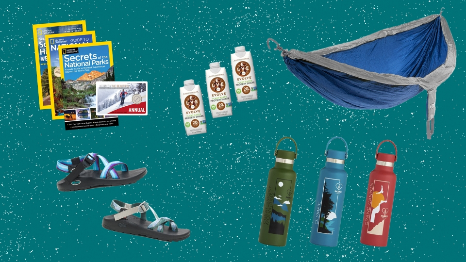 Collage of images of products listed below, including books, a hammock, protein drinks, insulated water bottles, and sandals