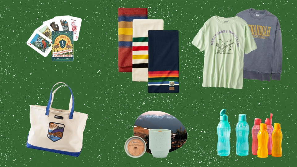 Collage of images of products listed below, including a tshirt, sweatshirt, blankets, canvas tote, candle, water bottles, and playing cards