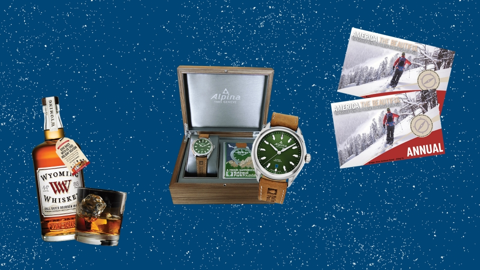 Collage of images of products listed below, including whiskey, a watch, and park passes