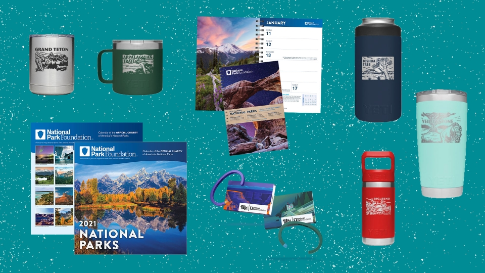 Collage of images of products listed below, including bracelets, insulated mugs and bottles, and park-themed calendars and planners