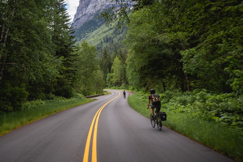 A curvy road snakes through the forest with gray rocky mountain in distance. We look down the length of the road and see two cyclists ahead