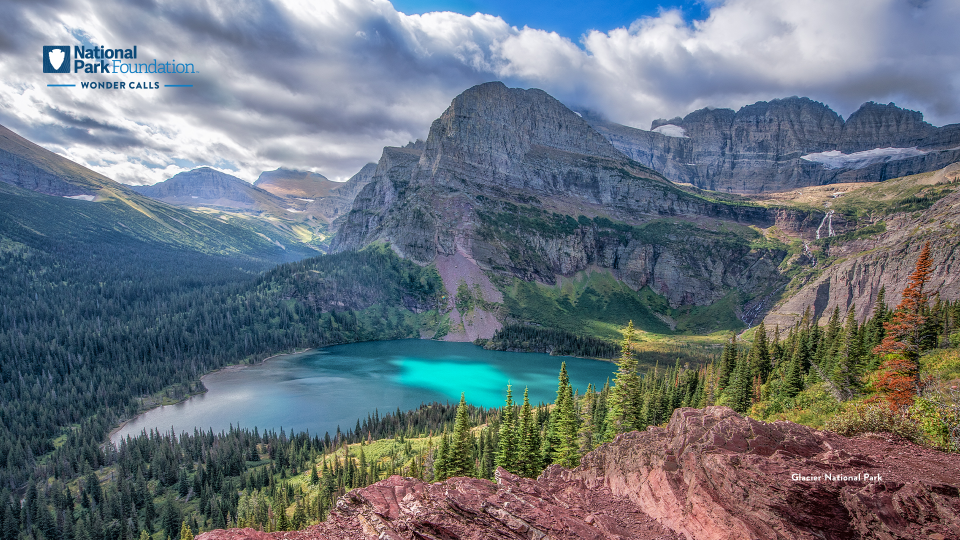 Glacial landscape in full bloom, with mountain peaks soaring in the background. Below, a clear turquoise lake is still