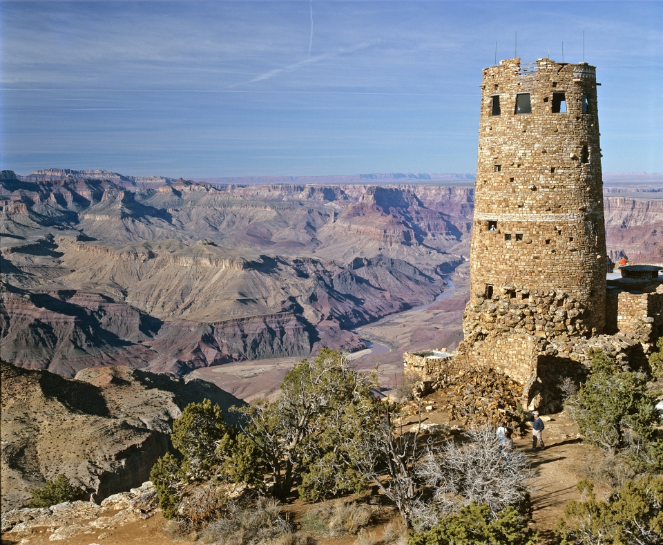 Stone cylindrical watchtower at Grand Canyon National Park