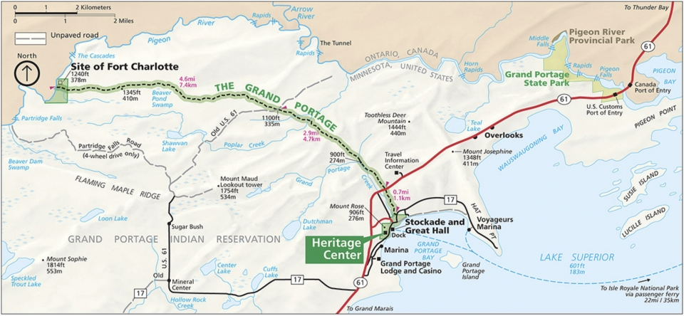 Map of the grand portage trail from the site of Fort Charlotte to the Heritage Center at Grand Portage National Monument