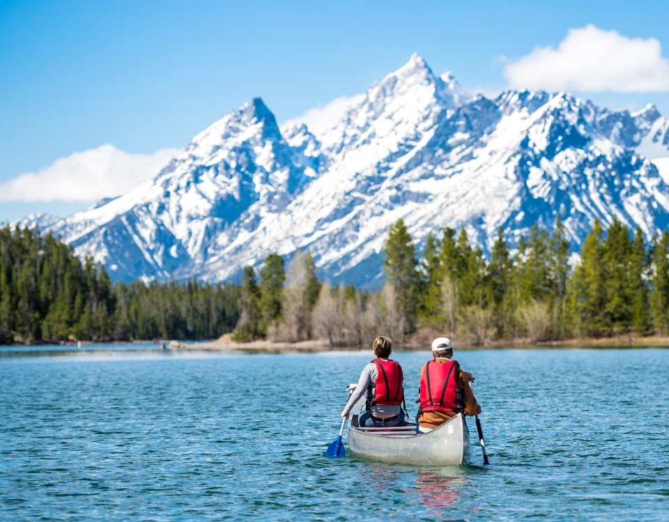 Couple canoeing at Grand Teton National Park