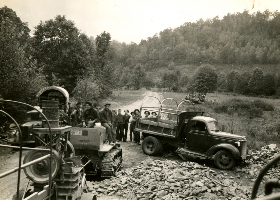 Civilian Conservation Corps team doing road construction at Great Smoky Mountains National Park