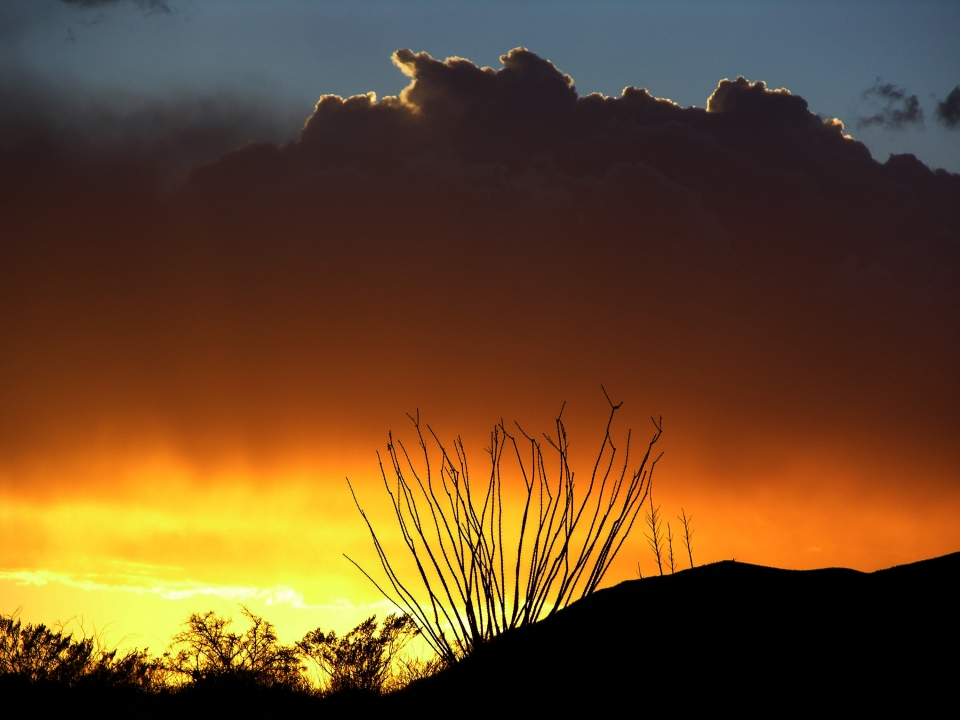 Colorful sunset over the Guadalupe Mountains National Park in Texas