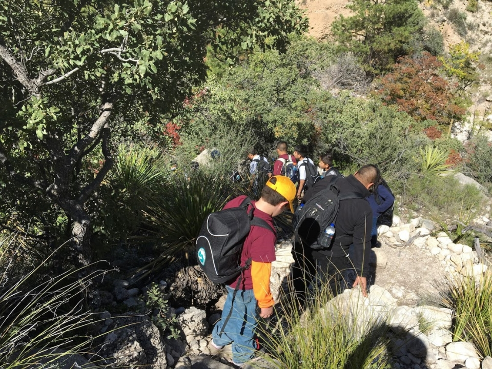 Students participating in Every Kid in a Park on Devils Staircase Trail at Guadalupe Mountains National Park