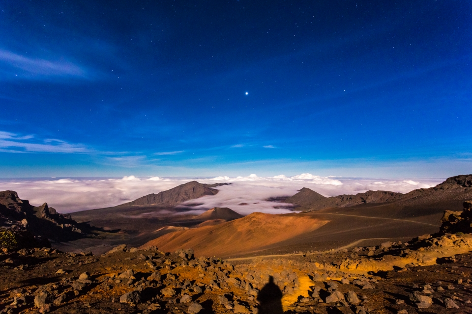 night sky over the alien landscape of Haleakala National Park