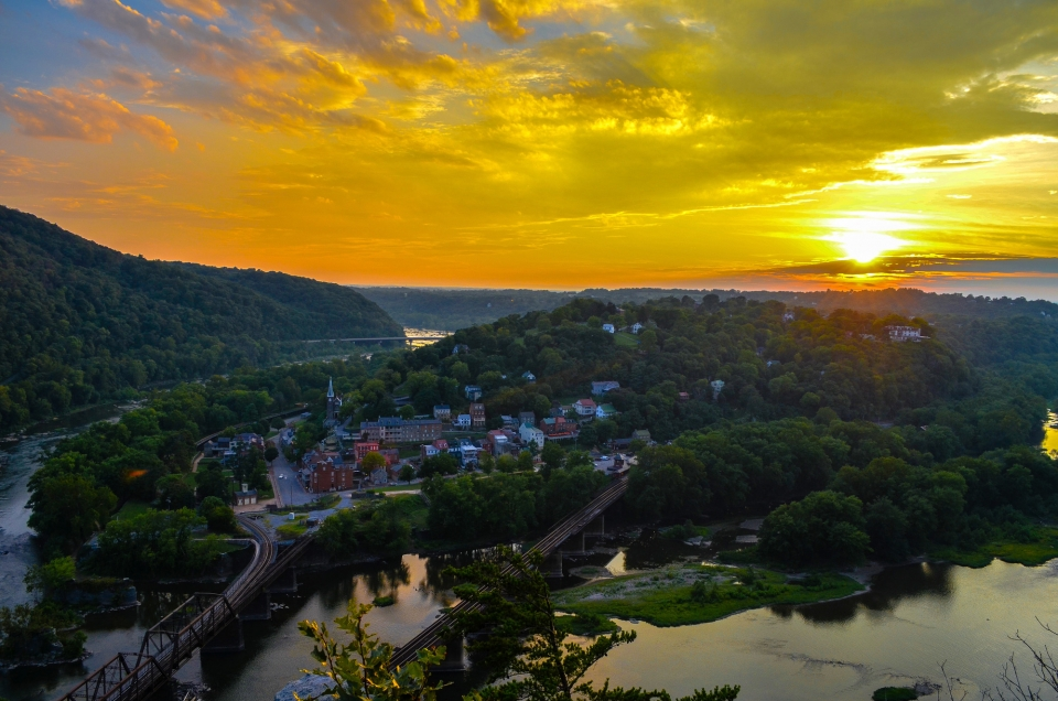 Sunset from Maryland Heights Overlook Trail onto the town of Harpers Ferry