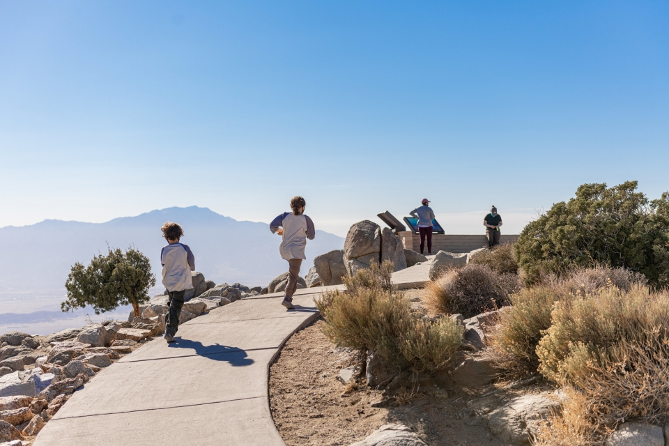 Kids walking on a paved trail surrounded desert vegetation against mountains