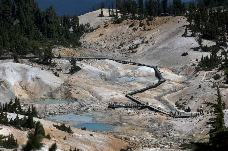 Hikers on the Bumpass Hell boardwalk at Lassen Volcanic National Park