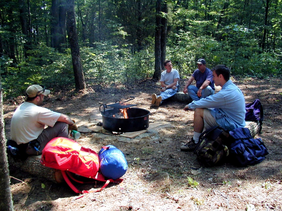 A group of four guys backcountry camping at Mammoth Cave National Park