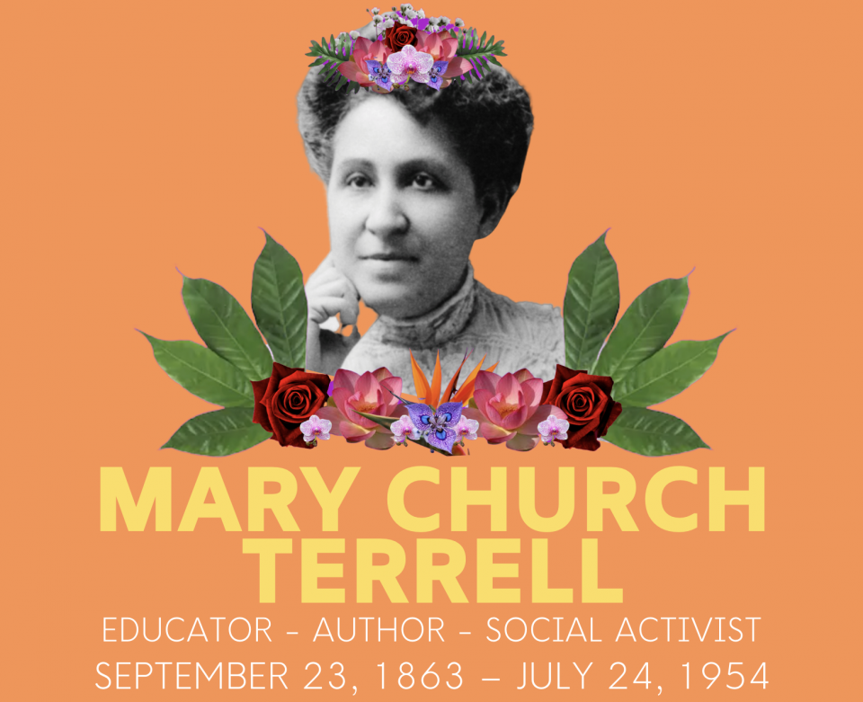 Photograph of Mary Church Terrell with graphic of flowers and her name illustrated beneath