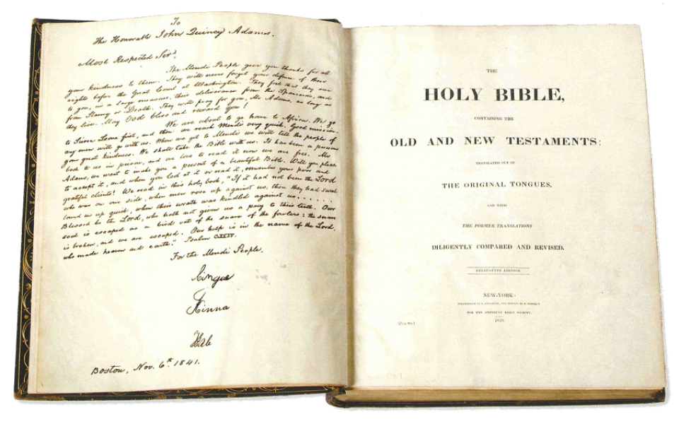 "The Mendi Bible opened to the cover title page ""HOLY BIBLE, OLD AND NEW TESTAMENTS"""